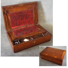 Antique Lap Desk w/Key & Some Supplies Inside
