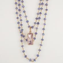 Triple Strand Blue Sapphire Beads, Gold, 14K Rose Gold Enhancer, 4.60ctw Amethyst Rose de France, & 0.36ctw Diamonds    18