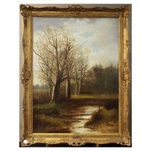 Antique Oil on Canvas of Country Scene - Signed Abraham Hulk Junior  30