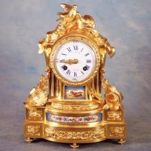 18th C Lepaute French Gilt Bronze Mantle Clock Marked 824 w/Hand Painted Sevres Porcelain Inserts (each signed M. Raingo on back) & 2 Keys, in working order