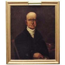 Framed Oil on Canvas of Gentleman (repaired)   25
