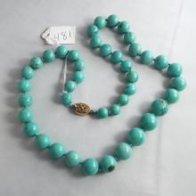 Graduated Turquoise Beaded Necklace  24