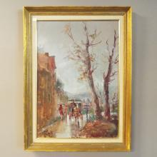 Oil on Board of Horse Drawn Carriage French Scene - Signed  Lower Left   19