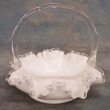 Art Glass Basket & Porcelain Tray