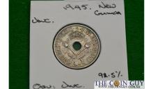 1945 New Guinea 1 Shilling George Vi UNC 92.5 % Silver