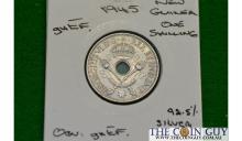 1945 New Guinea 1 Shilling George Vi GH/EF 92.5 % Silver