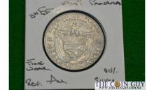 1947 Panama 1/2 Balboa GH/EF 90 % Silver