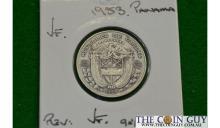 1953 Panama 1/4 Balboa VF 90 % Silver