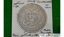 1910 Venezuala 25 Gram GH/FINE 83.5 % Silver