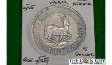 1949 Sth Africa 5 Shillings Springbok G/EF 80 % Silver