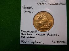 1887 UK Sovereign  Rarer Mints (797) Proof CH/Unc