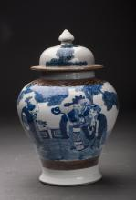 Blue and White Porcelain General Jar Qing Dynasty