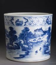Porcelain Landscape Brush Pot Qing Dynasty
