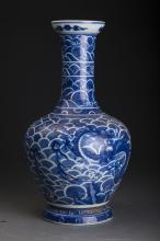 Chinese Blue and White Dragon Pot Qing Dynasty