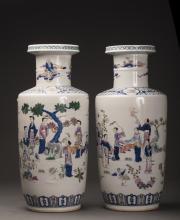 Pair of Fencai Porcelain Figure Pots Qing Dynasty