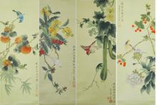 Set of Four Qing QianLong Silk Paintings Wang Jin
