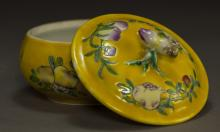 Republic Period Yellow Ground Bowl with Lid