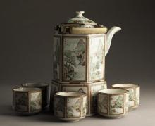 Chinese Porcelain Teapot and Five Cups