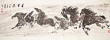 Chinese ink and watercolor Painting Eight Horses
