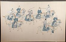Chinese Ink And Watercolor Painting Eight Riders