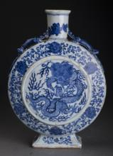 Blue and White Porcelain Dragon Pot