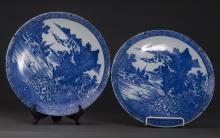 A Pair of Porcelain Landscape Plates