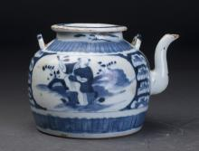 Blue and White Porcelain Pot Qing Dynasty