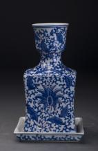 Square  Chinese Blue and White Porcelain Pot
