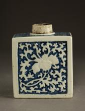 Chinese Qing Dynasty Blue & White Porcelain Bottle