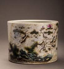 Multicolor Glazed Porcelain Brush Pot