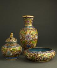 Set Of Chinese Qing Dynasty Cloisonne Decoration