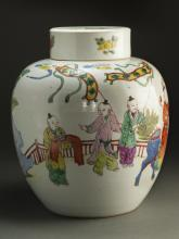 Chinese Qing Dynasty WuCai Figures Painting Jar