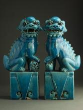 A Pair of Chinese Chinese Qing Dynasty Glaze Lions