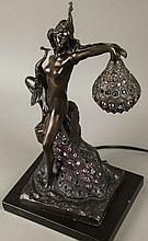 Era Bronze Peacock And Girl Lamp