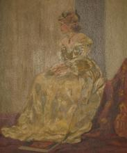 A Fine Old Oil Painting France Lady