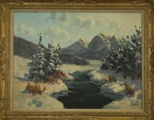 Western Oil Painting of Snow Scene with Signature