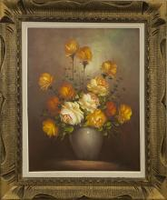 Old Western Oil Painting Flower with Signature
