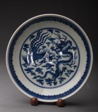 Dragon and Phoenix Plate Attributed to QingDynasty