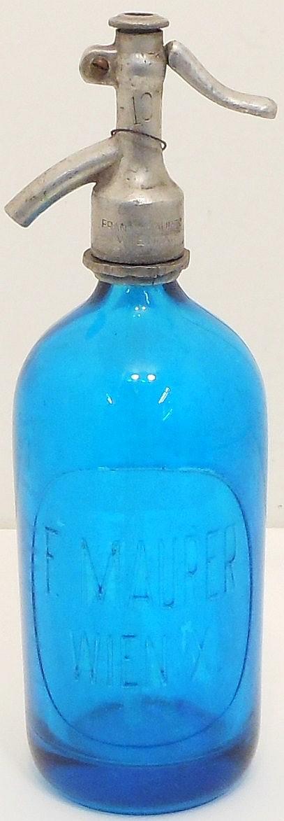 Vintage F. Maurer Blue Siphon Seltzer Bottle