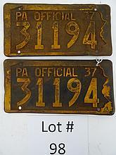 PA 1937 LICENSE PLATES