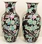 Pair Chinese Porcelain Famille Noir Baluster Vases