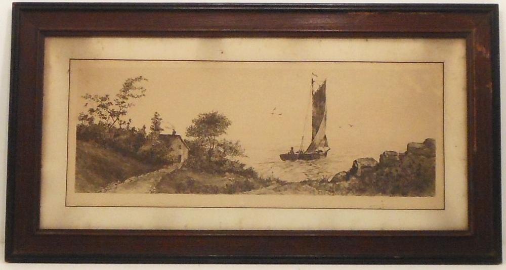Etching Departing Sailboat