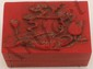 Hand Carved Red Stone Scholars Box w/ Imperial Seal