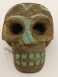 Hand Carved Stone Skull with Turquoise Inlay