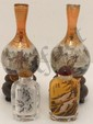 Lot of 4 Reverse Painted Vases and Snuff Bottles