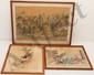 Pair Japanese Woodblock Prints and a Watercolor