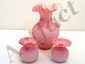 Lot Handblown Pink Ruffled Frosted Glass