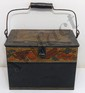Antique Toleware Metal Box with Bail Handle