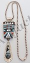Zuni Old Pawn MOP Turquoise Coral Onyx Pendant