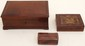 Lot of 3 Vintage Boxes Wooden & Leather
